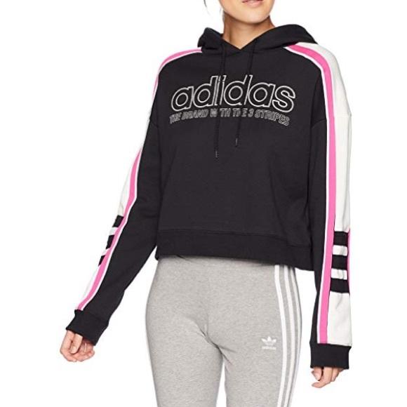 adidas sweatshirt pink white and black